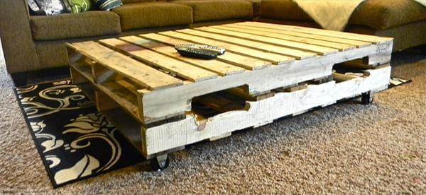 Chic black pallet coffee table diy tutorial 99 pallets for How to build a coffee table out of pallets