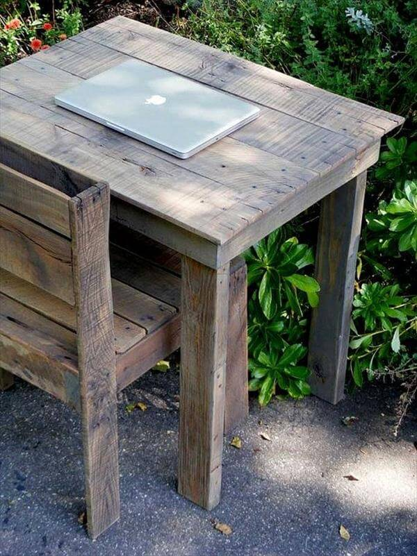 retrieved pallet computer desk with chair