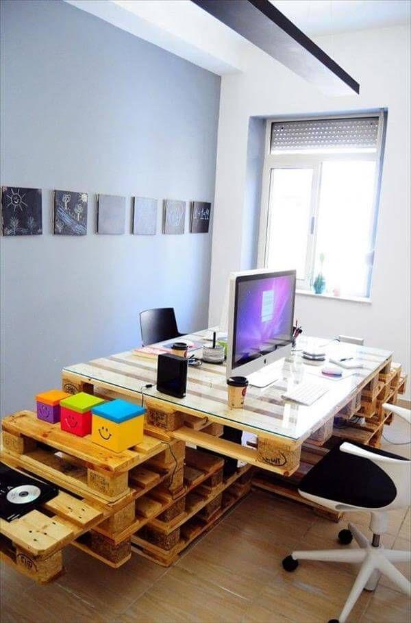 pallet computer desk diy