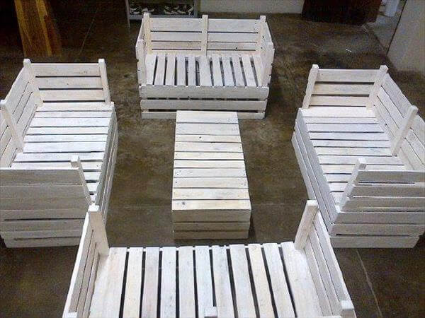 diy pallet furniture set for garden pallet outdoor furniture outdoor ...
