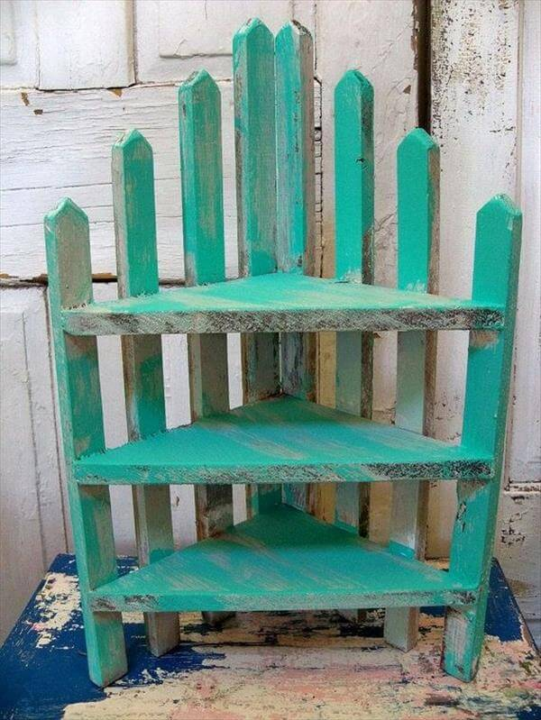 handmade pallet sectional shelving