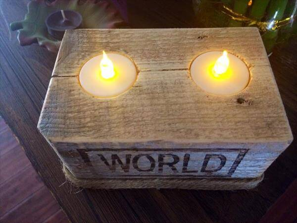 reclaimed pallet tea light holder with twine accent