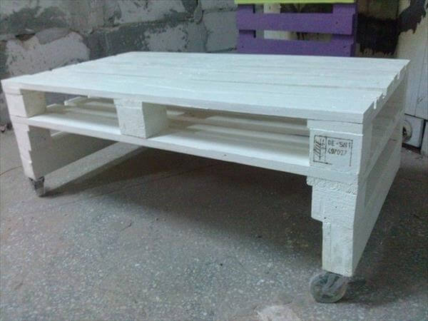 diy pallet white coffee table with wheels | 99 pallets