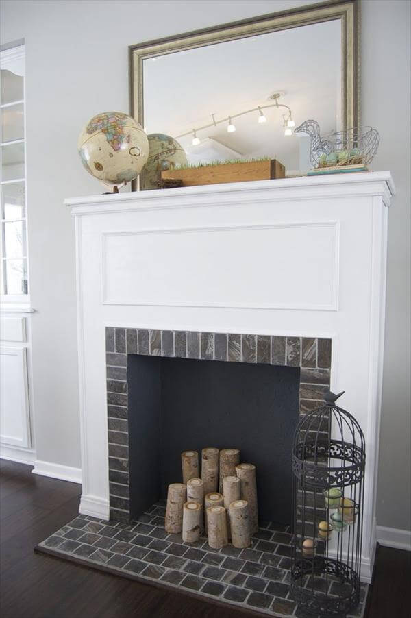 reclaimed wood and mantle faux fire place