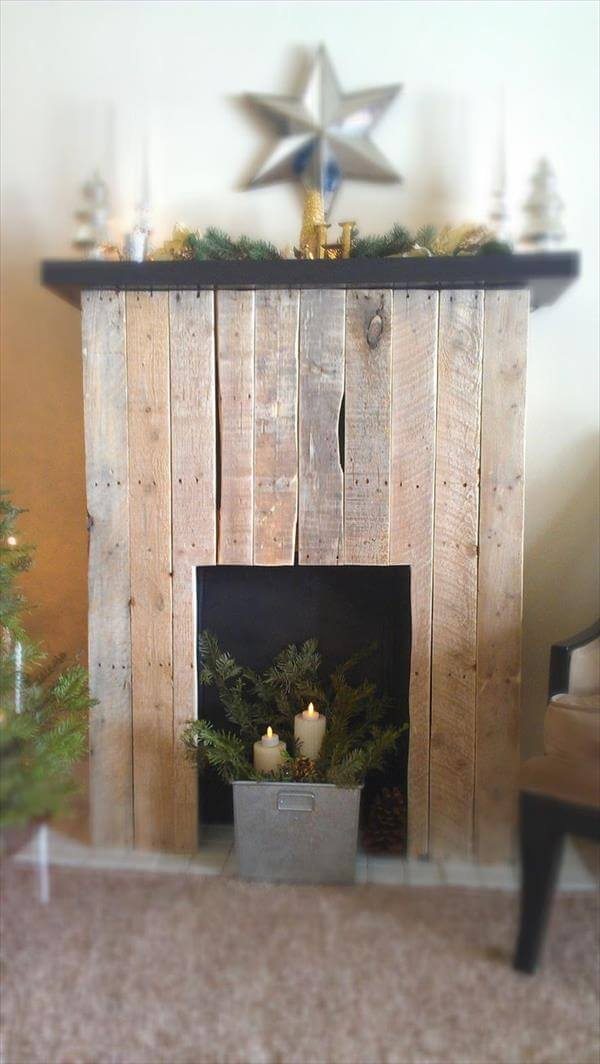 DIY Faux Pallet Fireplace : 99 Pallets