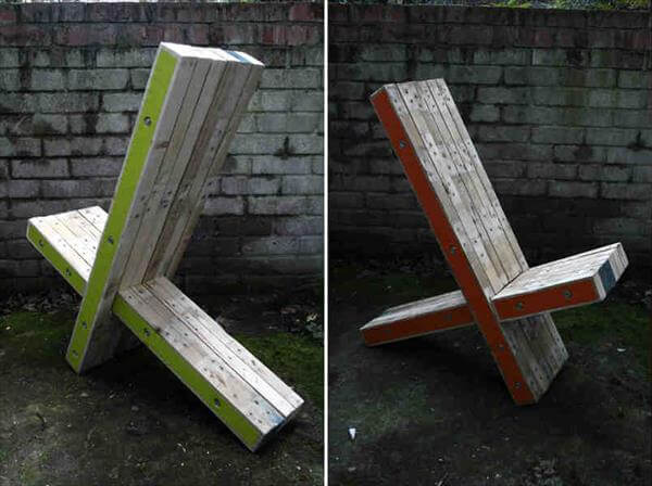 rustic pallet X chairs