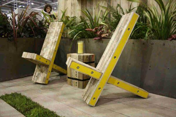 recycled pallet X chair