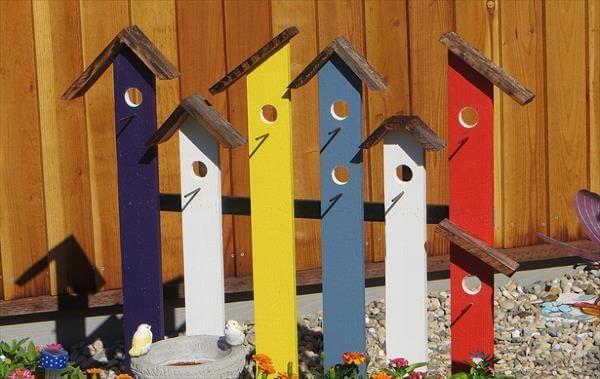 recycled pallet garden birdhouse trellis