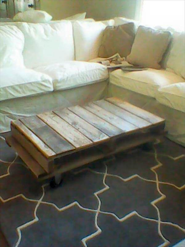 rustic pallet coffee table with wheels: diy tutorial | 99 pallets