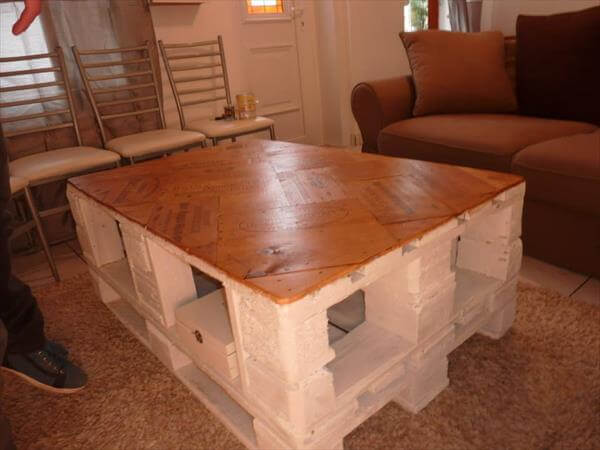 rustic brown wooden topped pallet coffee table