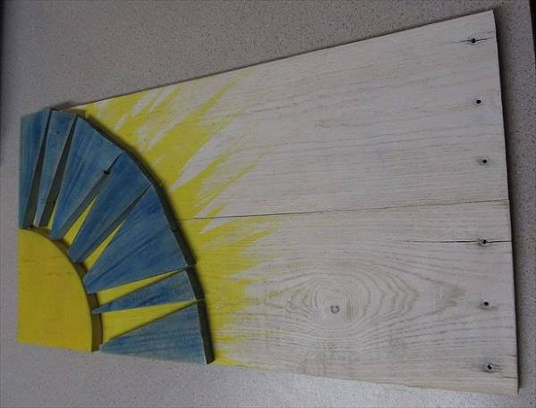 upycled pallet sunshine wall art