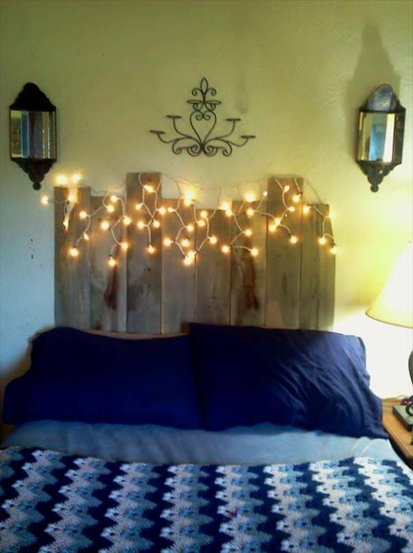 Diy Headboard on led bottle shelf