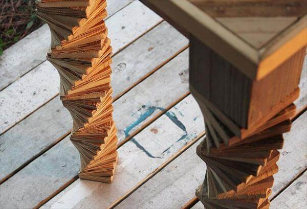 Captivating Upcycled Pallet Entry Table. These Spiral Shaped And Textured Legs ...