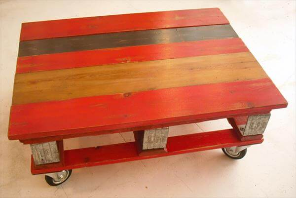 upcycled pallet red coffee table with wheels