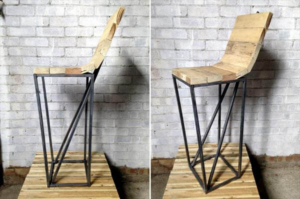 upcycled pallet metal stool