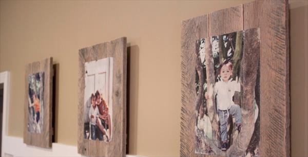 recycled pallet photo frames