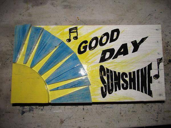 upcycled pallet sunshine wall art