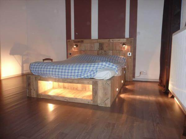 handcrafted pallet bench with lights
