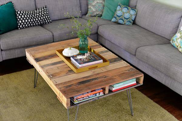 pallet coffee table with metal hairpin legs: diy | 99 pallets