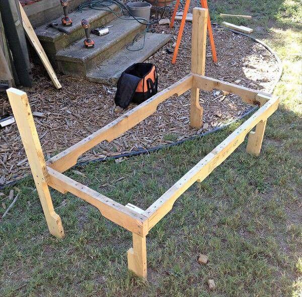 constructing pallet bench frame