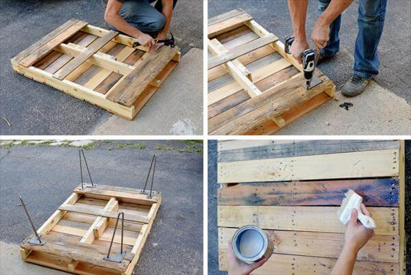 Pallet coffee table with metal hairpin legs diy 99 pallets for How to build a coffee table out of pallets