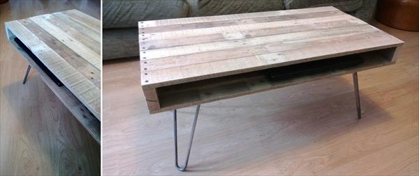 diy pallet coffee table with hairpin legs | 99 pallets