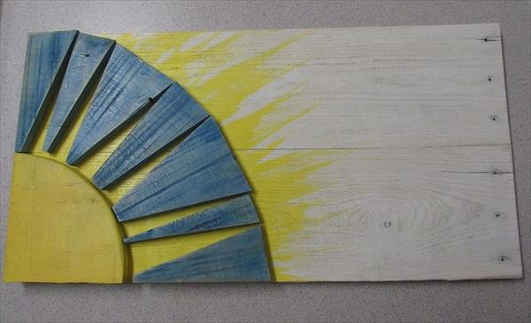 recycled pallet sunshine wall art
