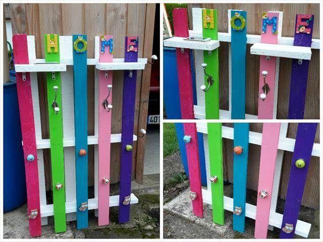 pallet wood coat rack design