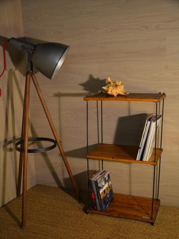 repurposed pallet adjustable industrial shelves
