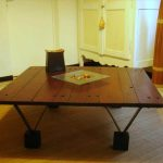 DIY Pallet Coffee Table with Triangular Metal Legs