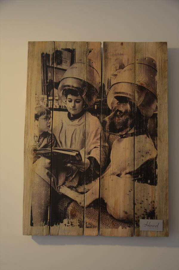 recycled pallet picture wall art