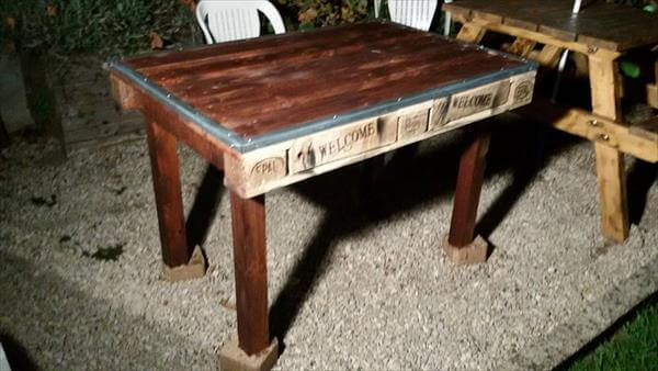 steel trimmed top pallet coffee table