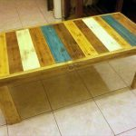 DIY Pallet Colorful Bench and Coffee Table