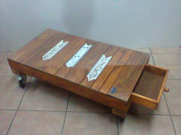 upcycled pallet coffee table with a hidden drawer