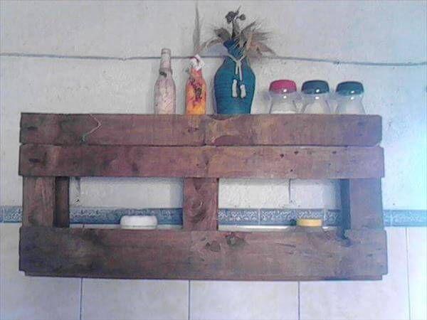 repurposed pallet decorative wall shelf