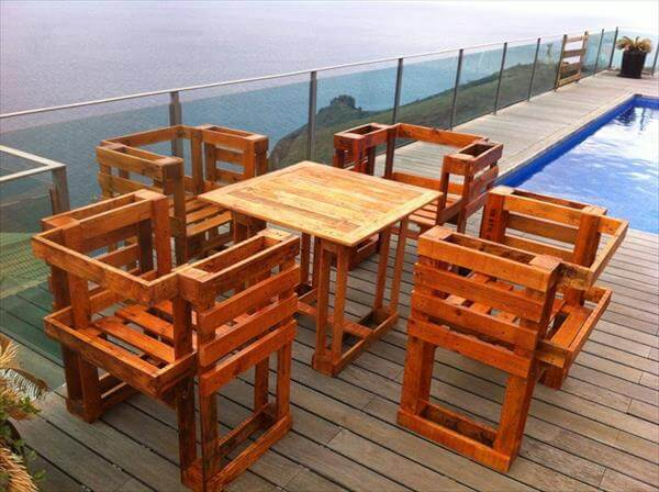repurposed pallet outdoor dining furniture