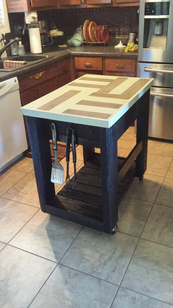Reclaimed Pallet Kitchen Island Table · DIY Pallet and Barn Wood Kitchen  Island Table - DIY Pallet Island Kitchen Table 99 Pallets