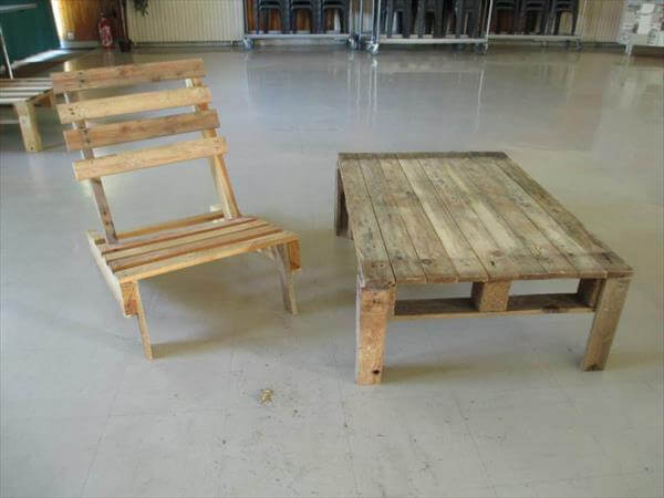 pallet chair and bench idea