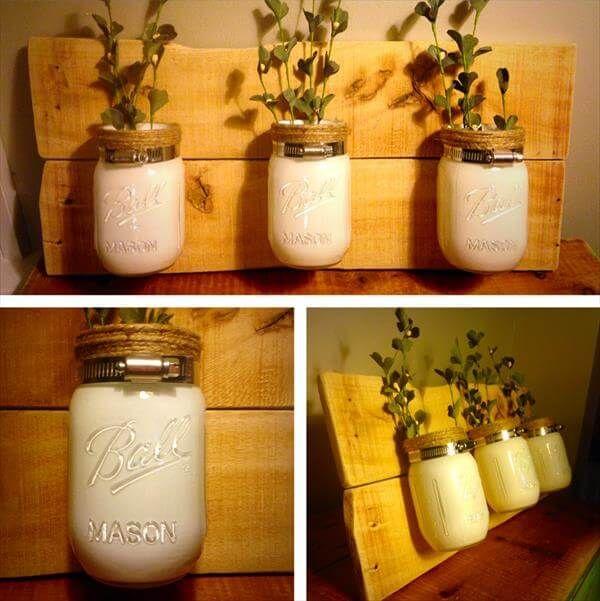 reclaimed pallet mason jar vases