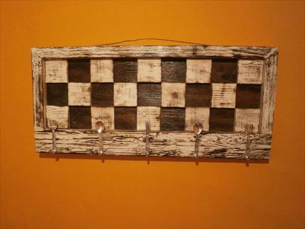 handcrafted pallet mosaic pallet coat rack