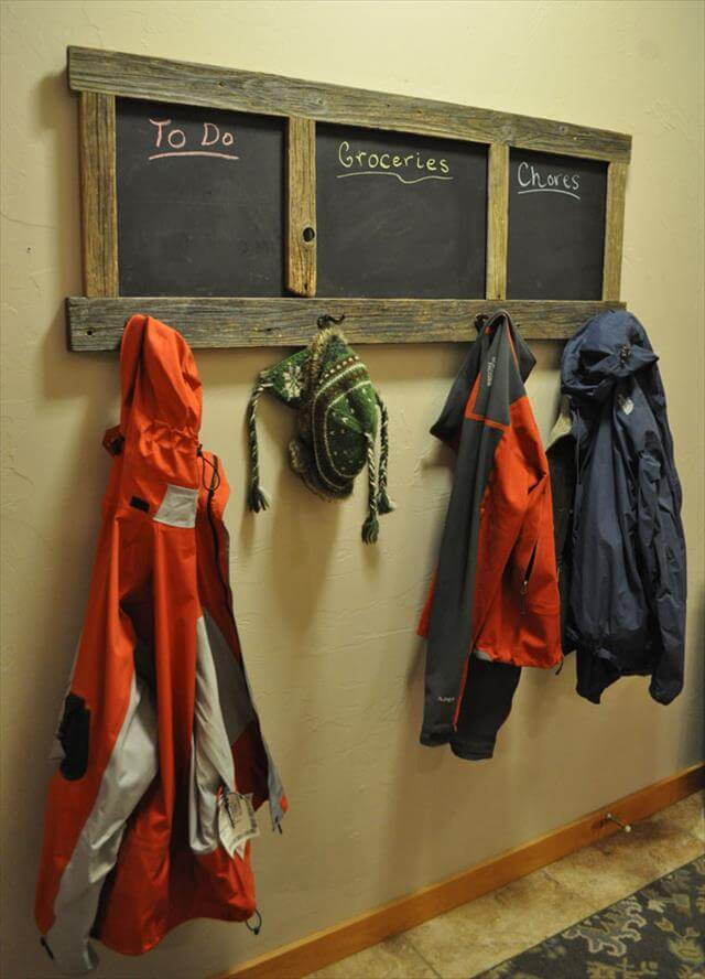 chalk board and recycled pallet rack