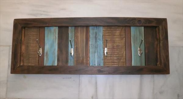 rustic multicolored pallet coat rack