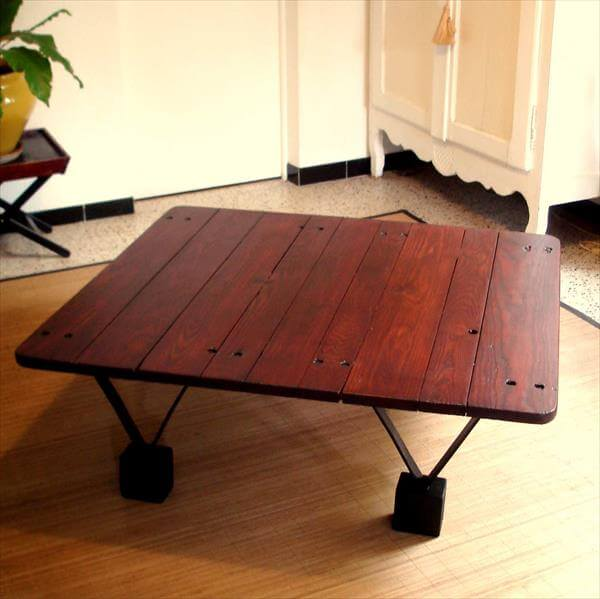 DIY Pallet Coffee Table With Triangular Metal Legs 99
