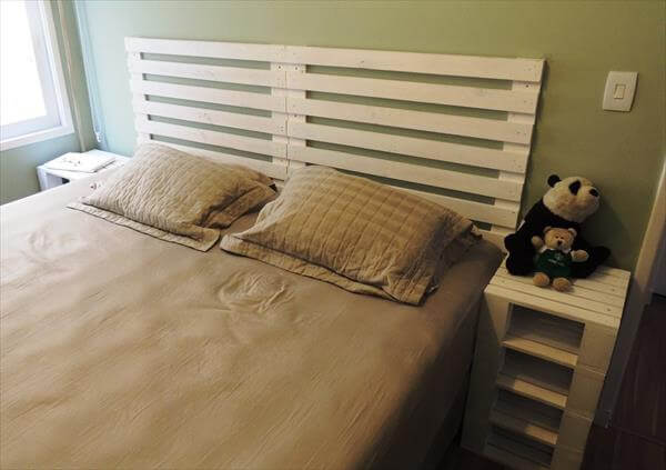 recycled pallet bed with headboard