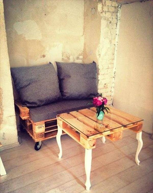 handmade pallet coffee table with reclaimed legs