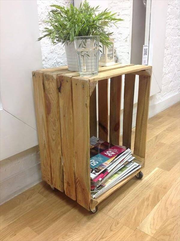 Diy multipurpose pallet crate mini table 99 pallets for Coffee table made out of wooden crates