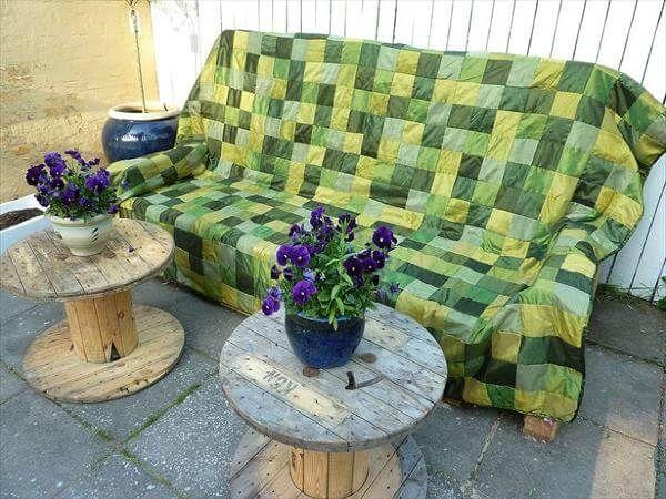 repurposed pallet cushioned outdoor sofa