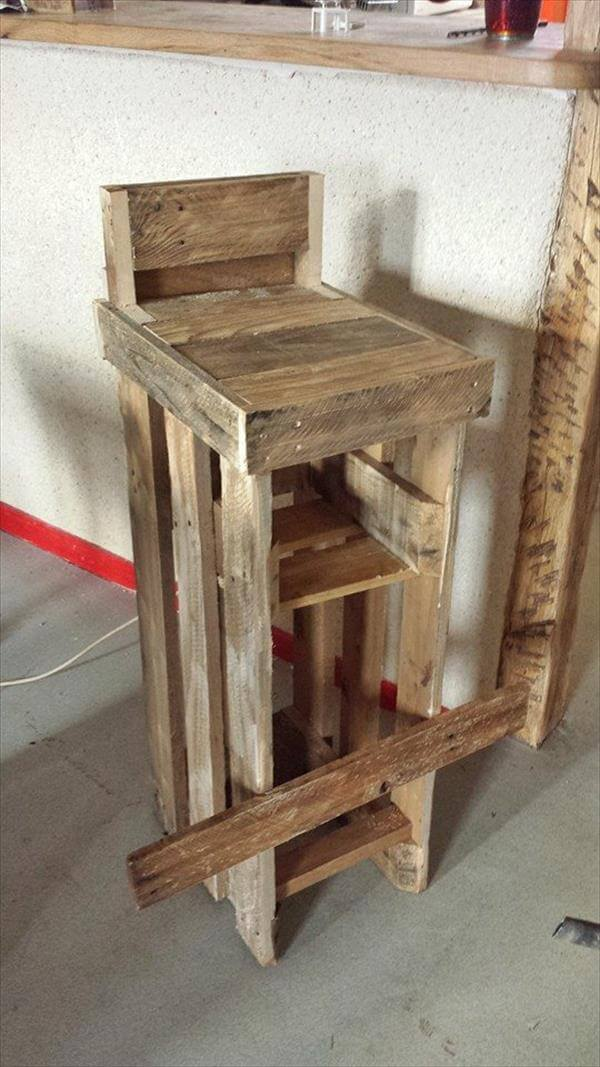 reclaimed pallet rustic stool with footrest