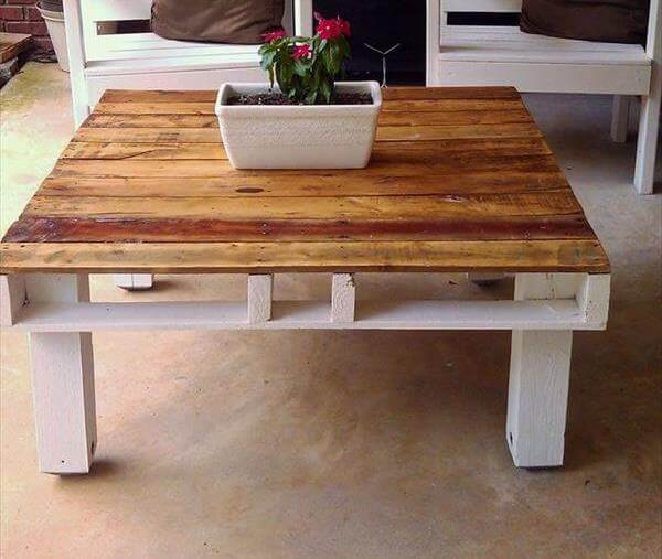 reclaimed pallet brown and white coffee table