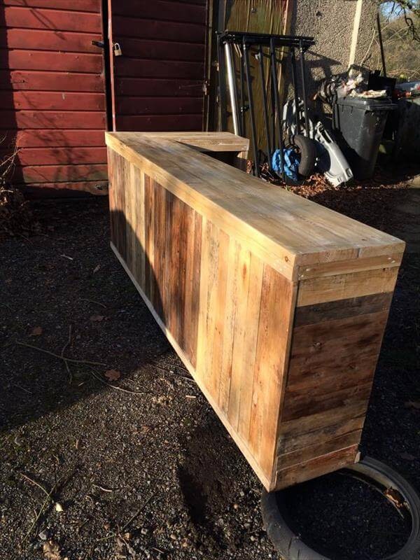 DIY Pallet L-Shape Desk - Counter and Bar Table | 99 Pallets